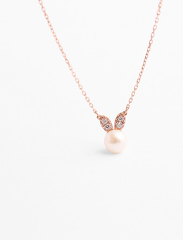 Rabbit With Pearl Face Rose Gold Necklace (Sterling Silver 925) N41117