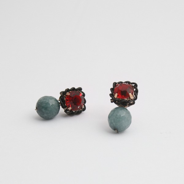 ruby crystal and gemstone handmade ear studs (sterling silver 925)