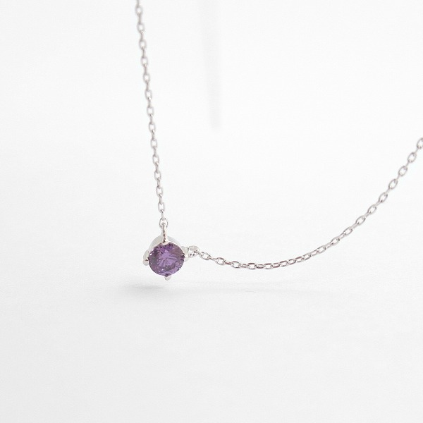 diamond faceted deep purple crystal February birthstone silver necklace (sterling silver 925) N40894