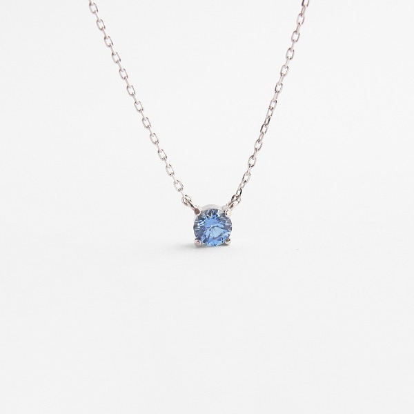 diamond faceted blue sapphire crystal September birthstone silver necklace (sterling silver 925) N40897