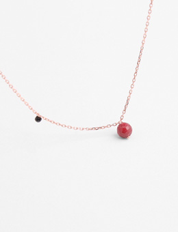 Ruby Gemstone With Black Onyx Crystal Long Necklace (Sterling Silver 925)
