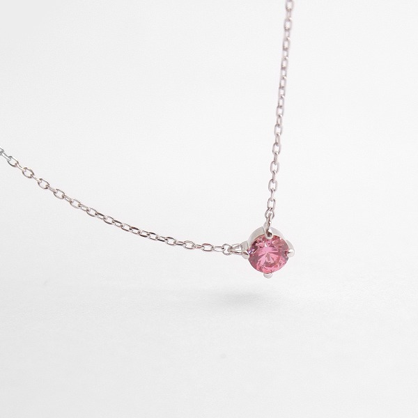 diamond faceted pink crystal June birthstone silver necklace (sterling silver 925) N40895