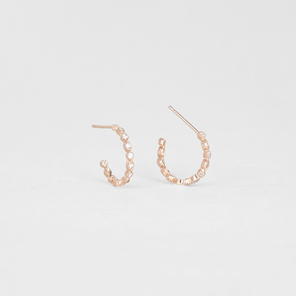 crystal ring ear studs (sterling silver 925) E41094